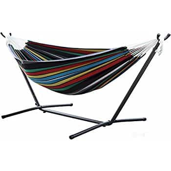 Vivere Double Hammock with Space-Saving Steel Stand, Rio Night - $79.99 @ Amazon.com