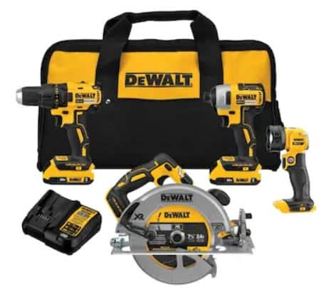 DEWALT 20-Volt Max 4-Tool Brushless Power Tool Combo Kit with Soft Case (2-Batteries Included and Charger Included) $268.99