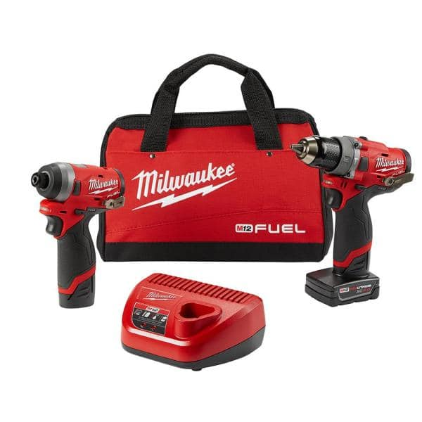 Milwaukee M12 FUEL 12-Volt Lithium-Ion Brushless Cordless Hammer Drill and Impact Driver Combo Kit (2-Tool) w(2) Batteries & Bag $179