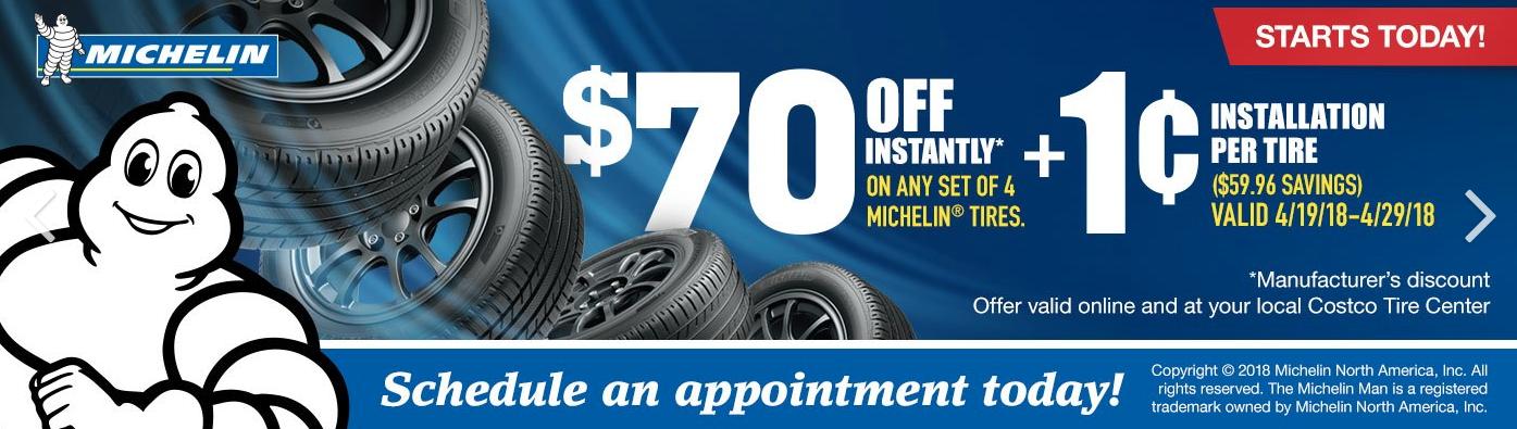 Costco members: Set of 4 Michelin tires $70 off + $0.01 installation per tire