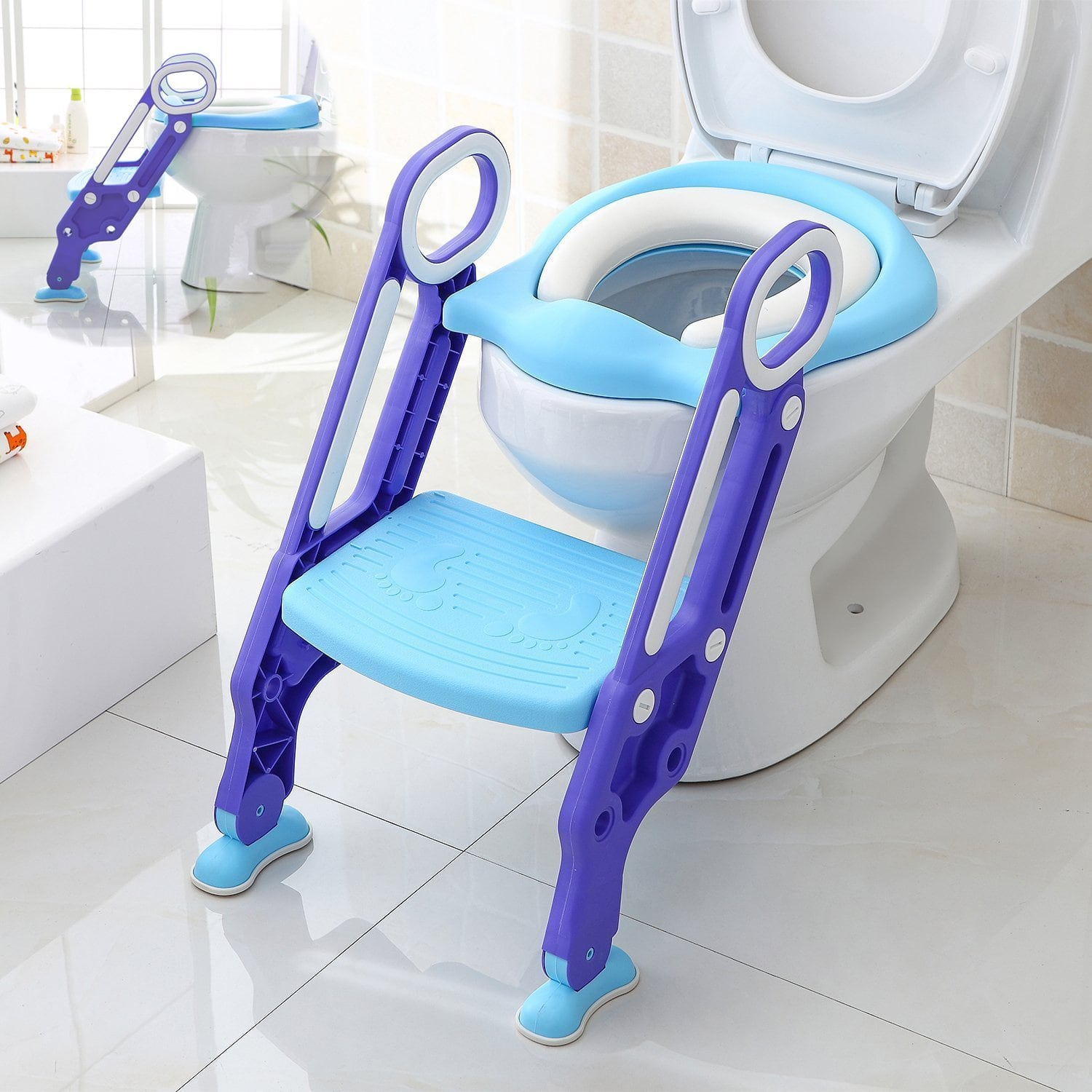 Makone Potty Trainer Seat Adjustable Baby Potty Toilet Ladder Seat $25.20 + Fs