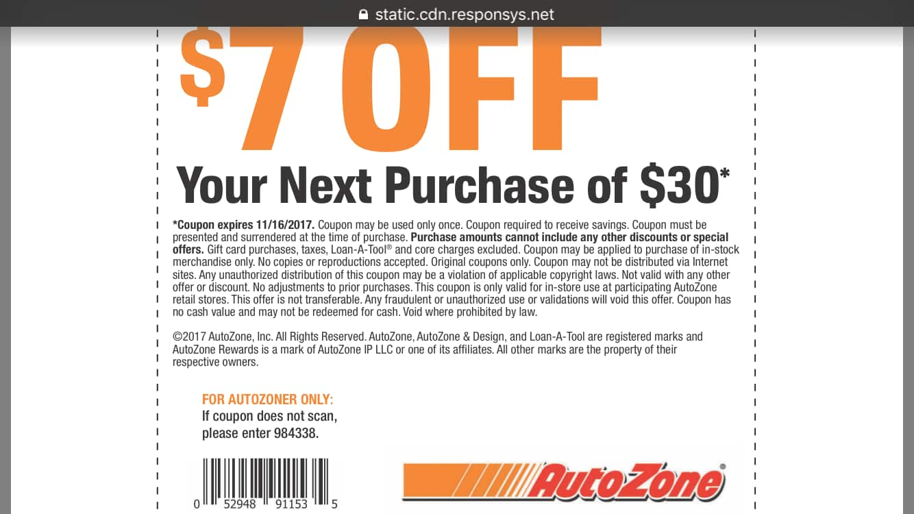 Autozone in store discount coupons