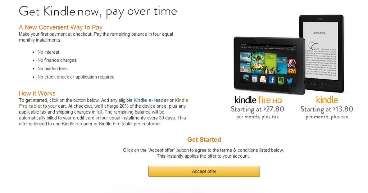 Amazon Special Offer: Payment Plan (being offered again) for Kindle E-Reader or Kindle Fire Tablets to Select Users (YMMV)