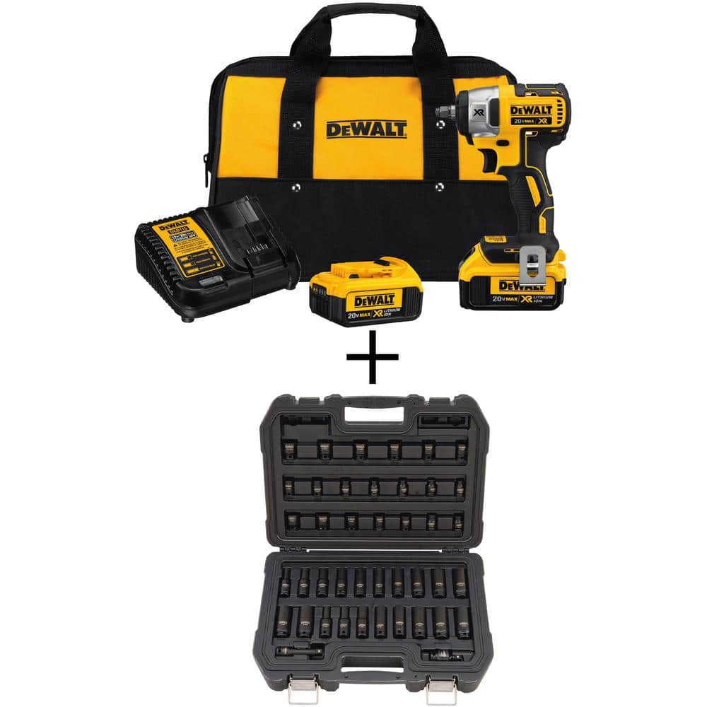 DeWALT 20-Volt MAX XR Lithium-Ion Cordless 3/8 in. Brushless Impact Wrench Kit with Bonus 3/8 in. Drive Impact Socket Set - $199 @ Home Depot