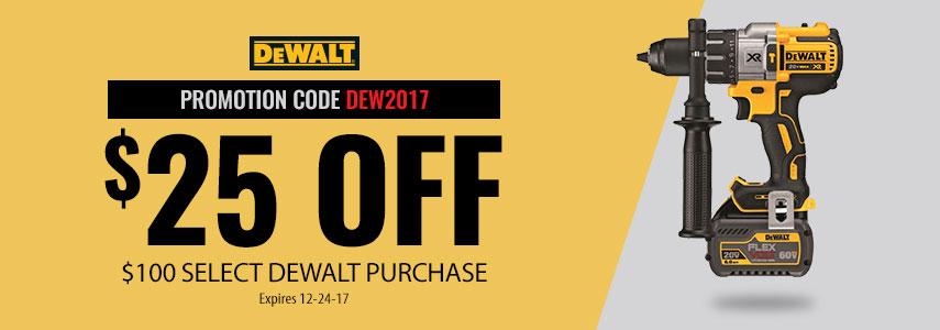 $25 off $100 on select DeWalt tools @ Acme Tools
