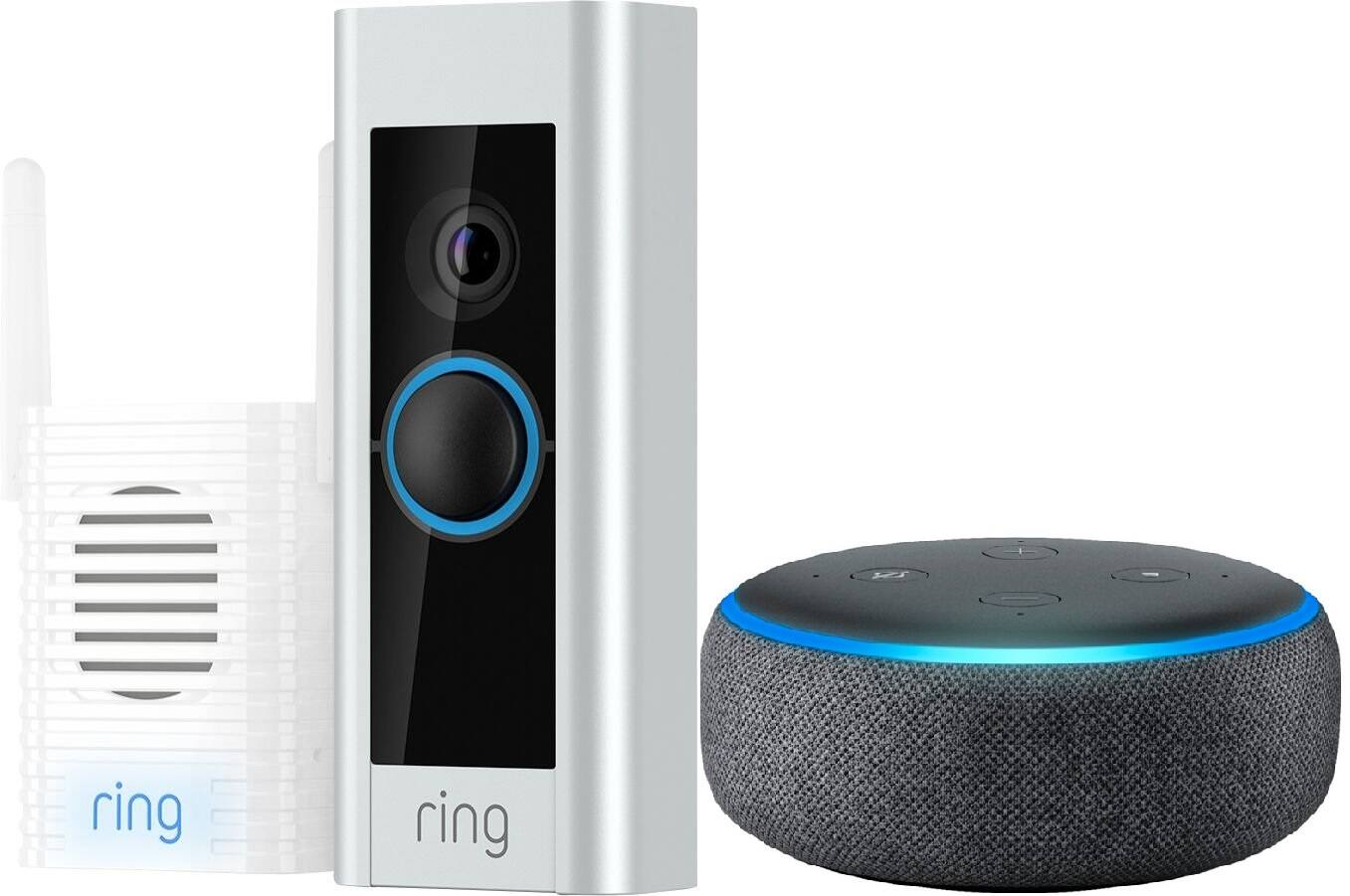 ring video doorbell pro w chime pro bundle echo dot. Black Bedroom Furniture Sets. Home Design Ideas