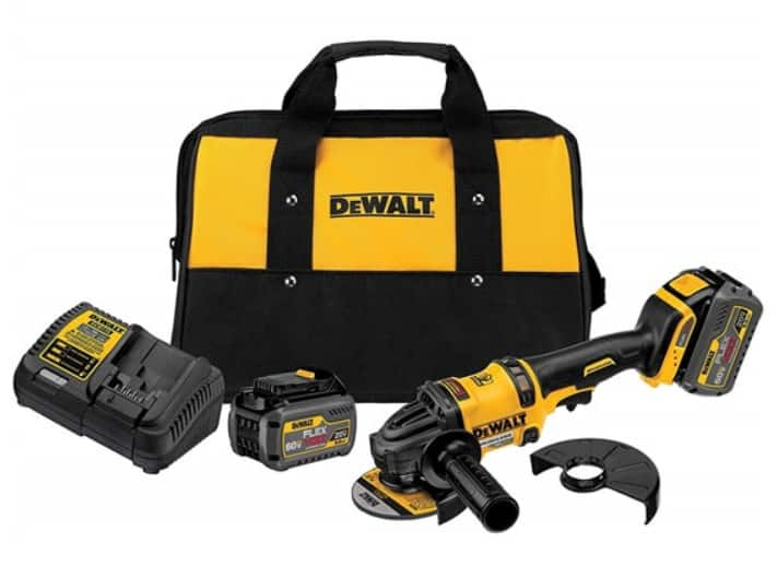 DeWalt 60V Flexvolt Grinder w/ Kickback Brake Kit + (2) 60V 2.0Ah Batteries, Charger, & Bag $279.99 + Free S&H w/ Prime