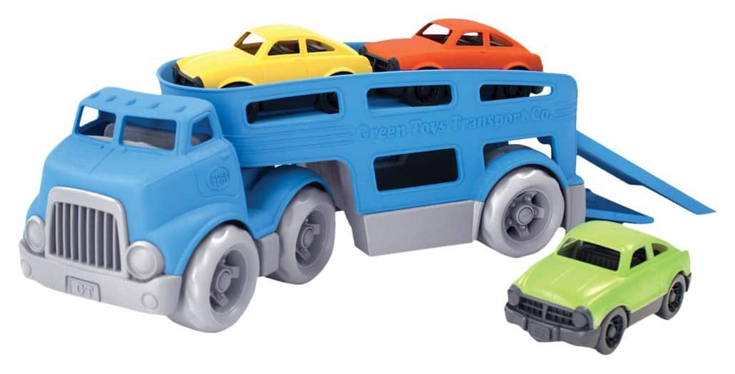 Green Toys Recycled Plastic Car Carrier Vehicle Set (Blue) $12.35 (Lightning Deal)