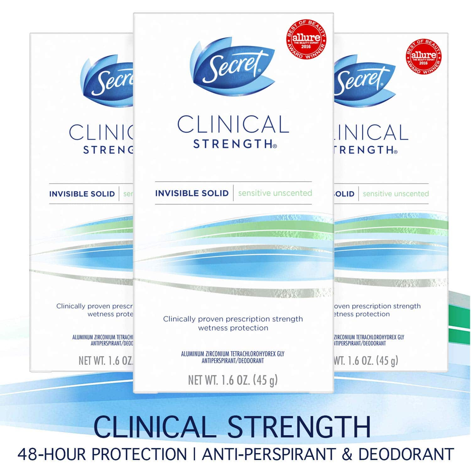 3-Pk 1.6oz Secret Clinical Strength Invisible Solid Antiperspirant Deodorant for Women (Sensitive Unscented) $14.94