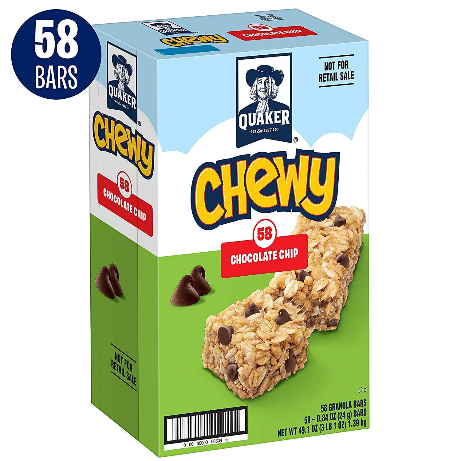 58-Count Quaker Chewy Granola Bars (Chocolate Chip) $7.10 w/ S&S & More + Free S&H