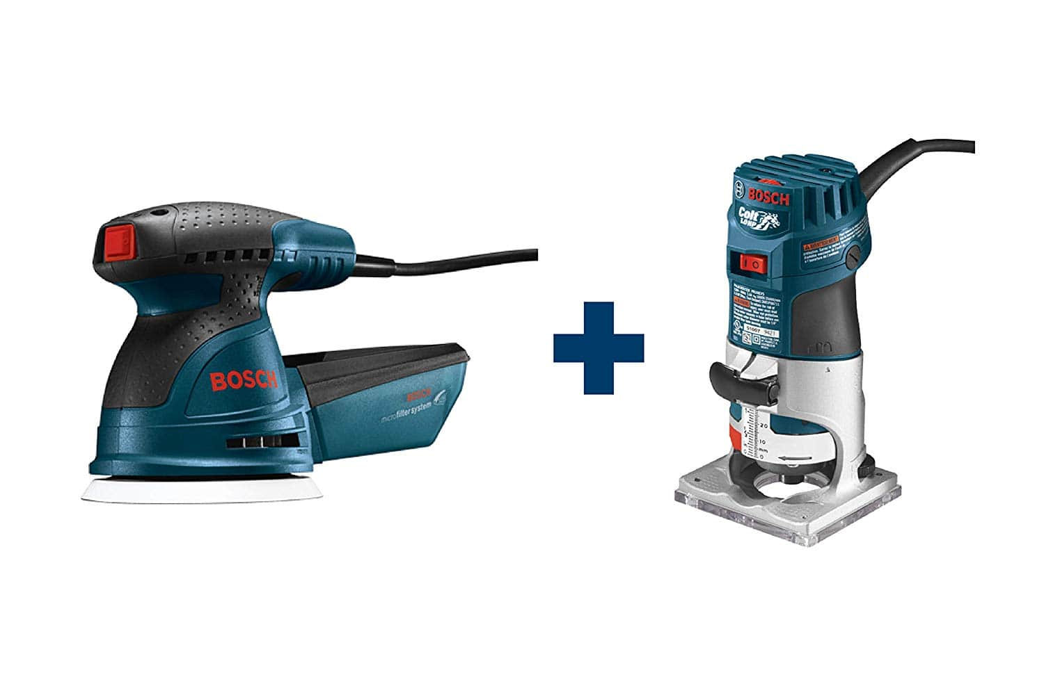 """Bosch Colt 1HP 5.6 Amp Variable-Speed Palm Router + 2.5 Amp 5"""" Variable-Speed Random Orbital Sander Kit w/ Dust Collector & Bag $106.99 + Free Shipping"""
