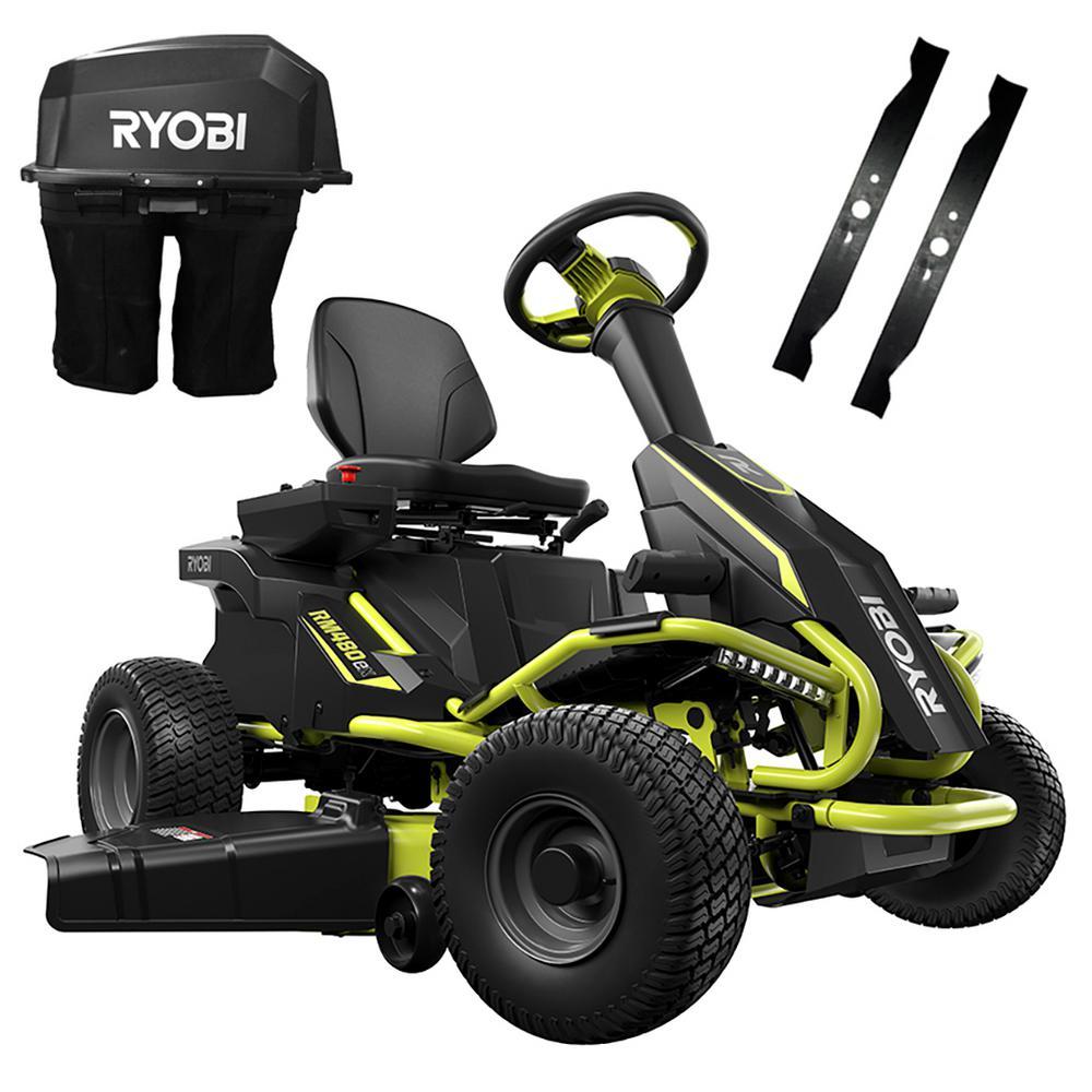 """Ryobi 38"""" 75Ah Electric Riding Lawn Mower & Bagging Kit $2499 & More + Free Shipping"""