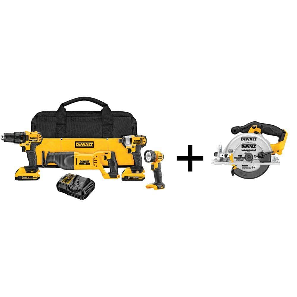 "Power Tools: DeWalt 20V MAX 4-Tool Combo Kit + 6-1/2"" Circular Saw, 2x 2.0Ah Batteries, Charger, & Bag $299 & More + Free Shipping"