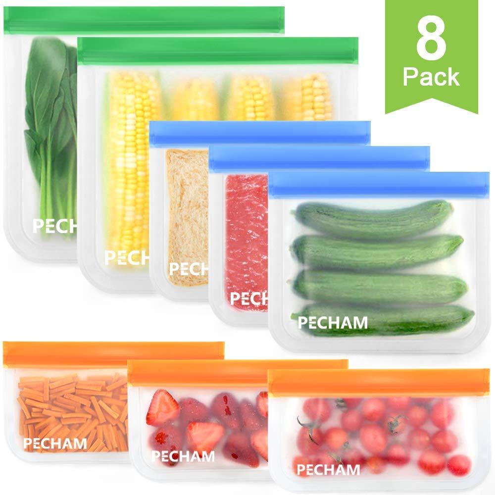 Reusable Storage Bags,8 Pack BPA FREE Leakproof silicone food storage freezer bags $9.99
