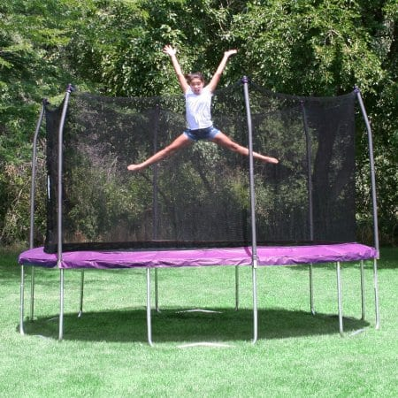 Skywalker 14' round trampoline,  enclosure, & windstakes, $189 with free shipping