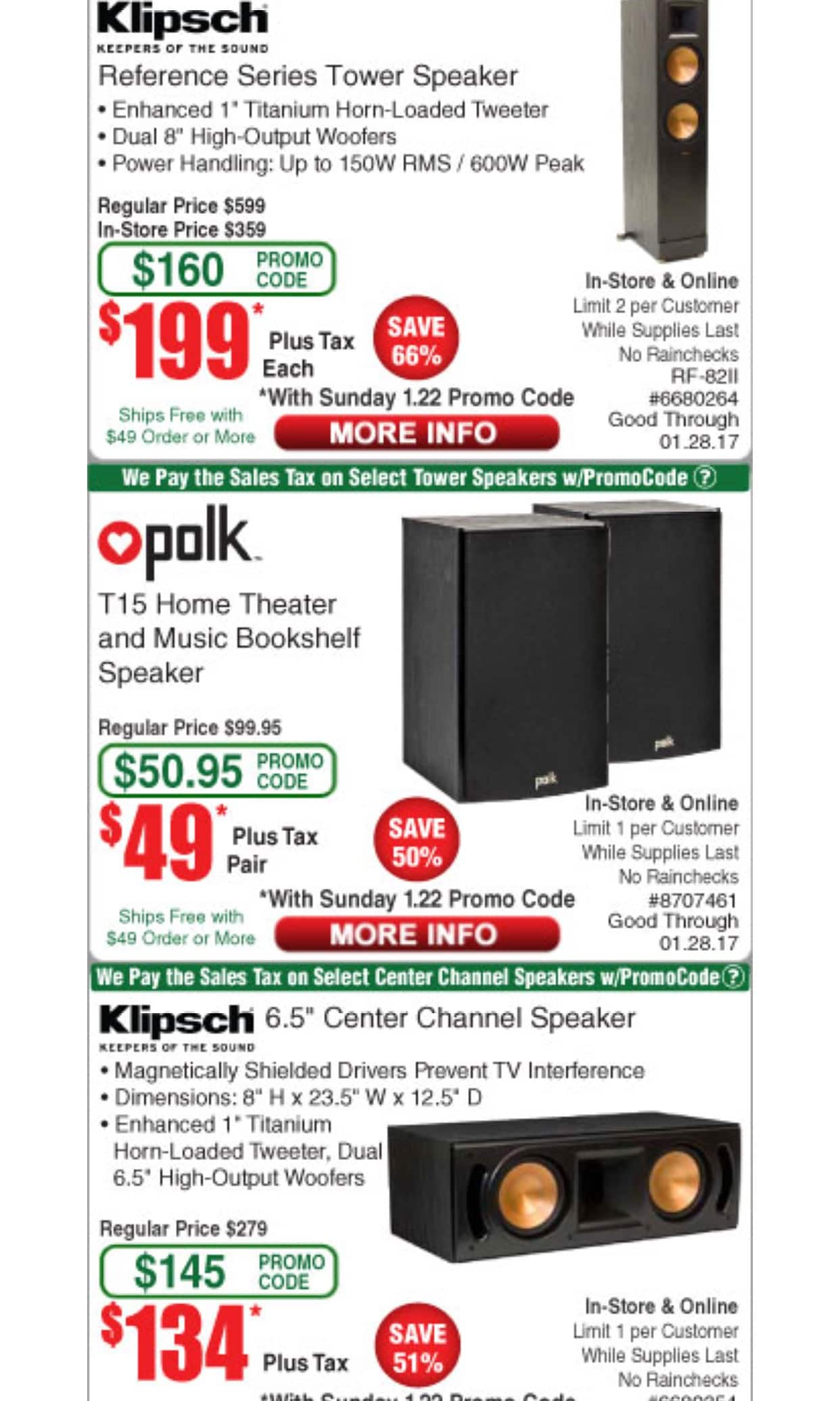 Klipsch RF-82 II $199 and RC-62 II $135 Fry's BM and maybe Online Starts 1/22