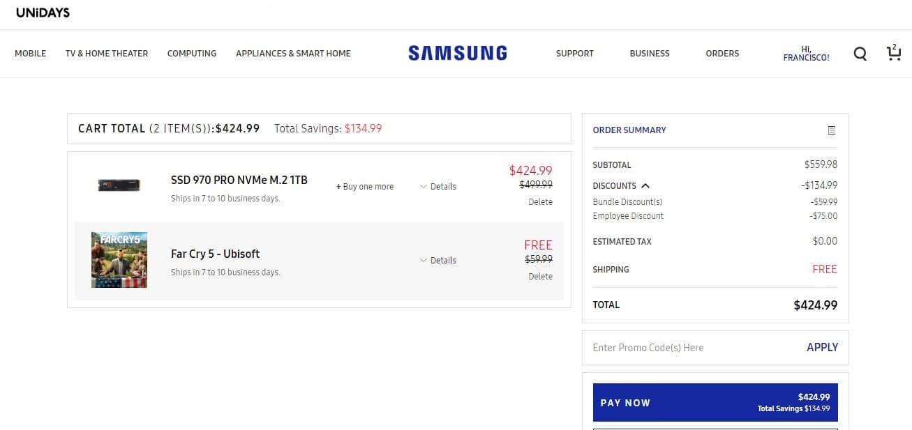 1TB Samsung 970 Pro NVMe M.2 + Far Cry 5 Download $424.99 @ Samsung with Unidays Discount (maybe possible with other EPP)