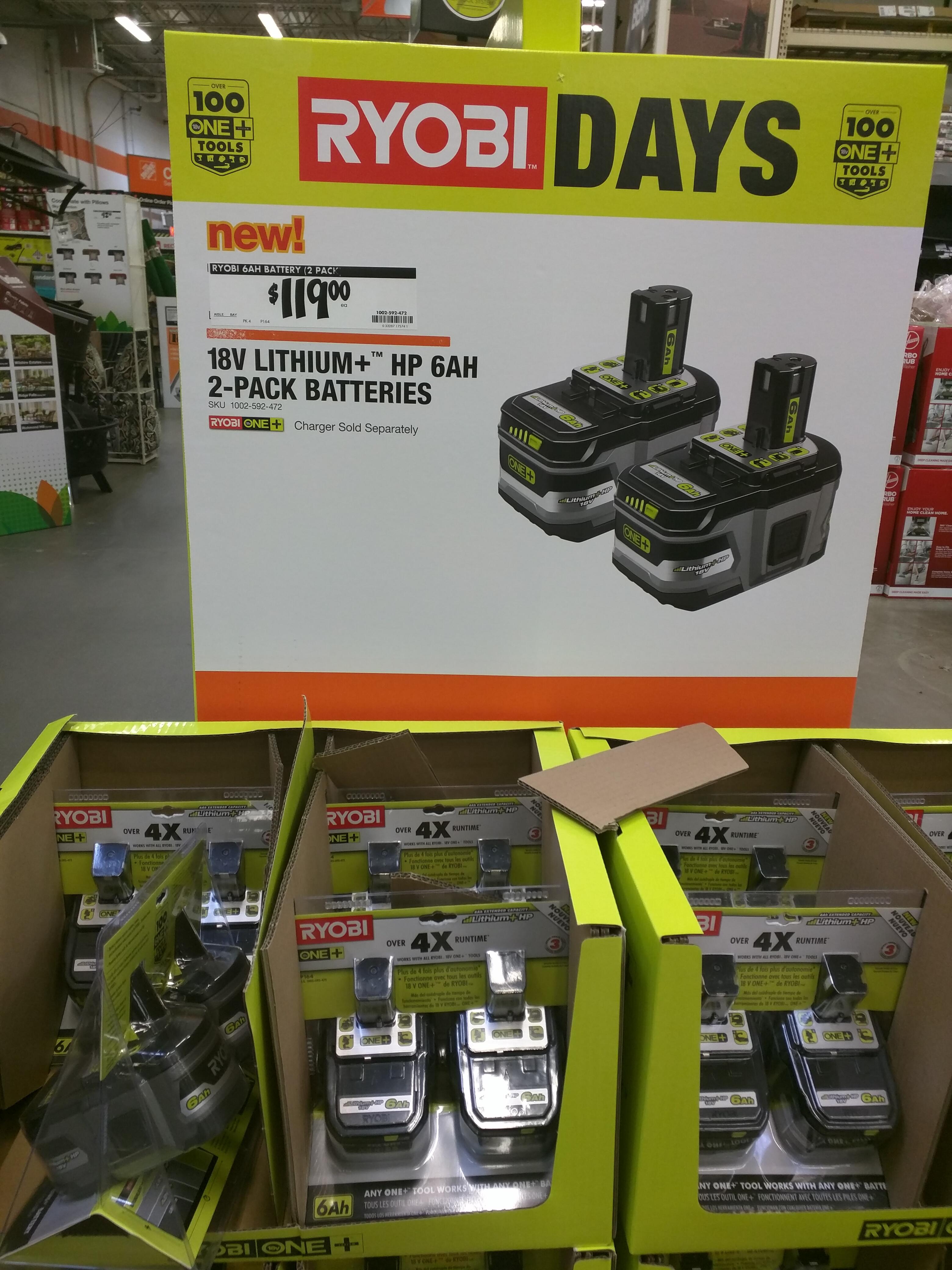 Brand new Ryobi 6Ah 18V One+HP battery 2-pack, $119