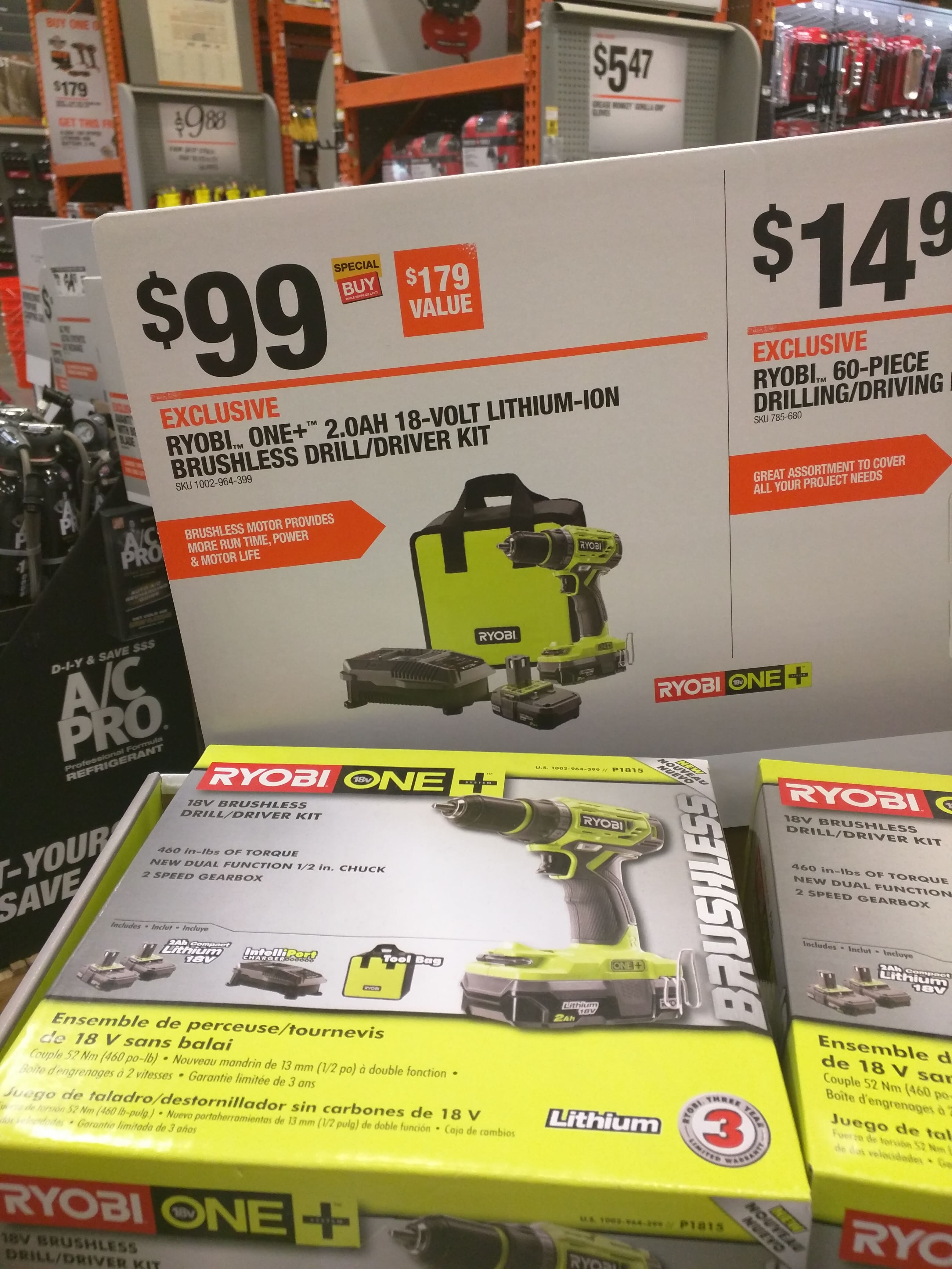 New Ryobi brushless drill in a kit $99, not the hammer drill version.