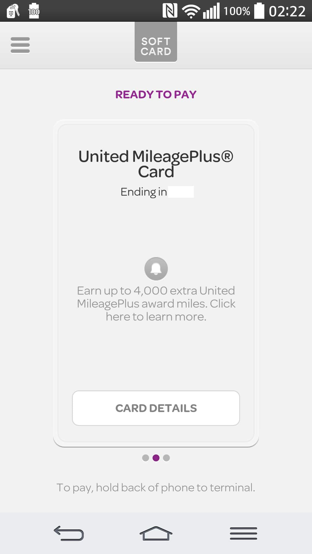4,000 United miles from Softcard after linking and use Chase United Explore/Club card.