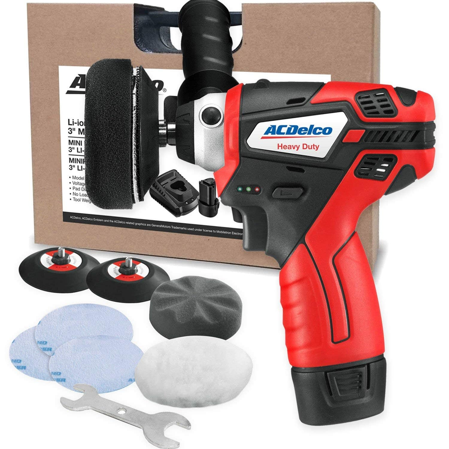 """ACDelco G12 Series 12V Cordless 3"""" Mini Polisher Tool Set with 2 Li-ion Batteries, Charger, and Accessory Kit, ARS1212 $94.84"""