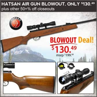 Hatsan Air Gun Sale up to 63% off - Torpedo 100X for $124, 125 Vortex for $160, $4 flat rate shipping + $5 off coupon