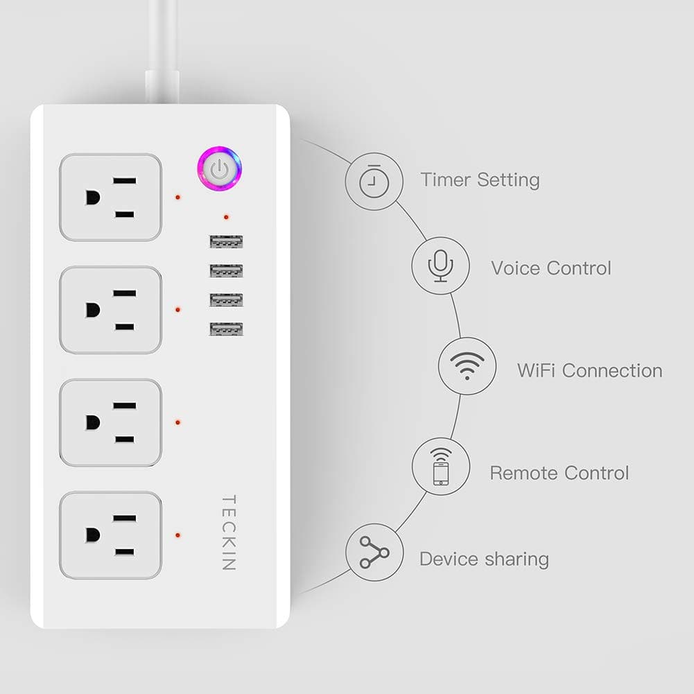 TECKIN Smart Power Strip WiFi Plug Compatible with Alexa