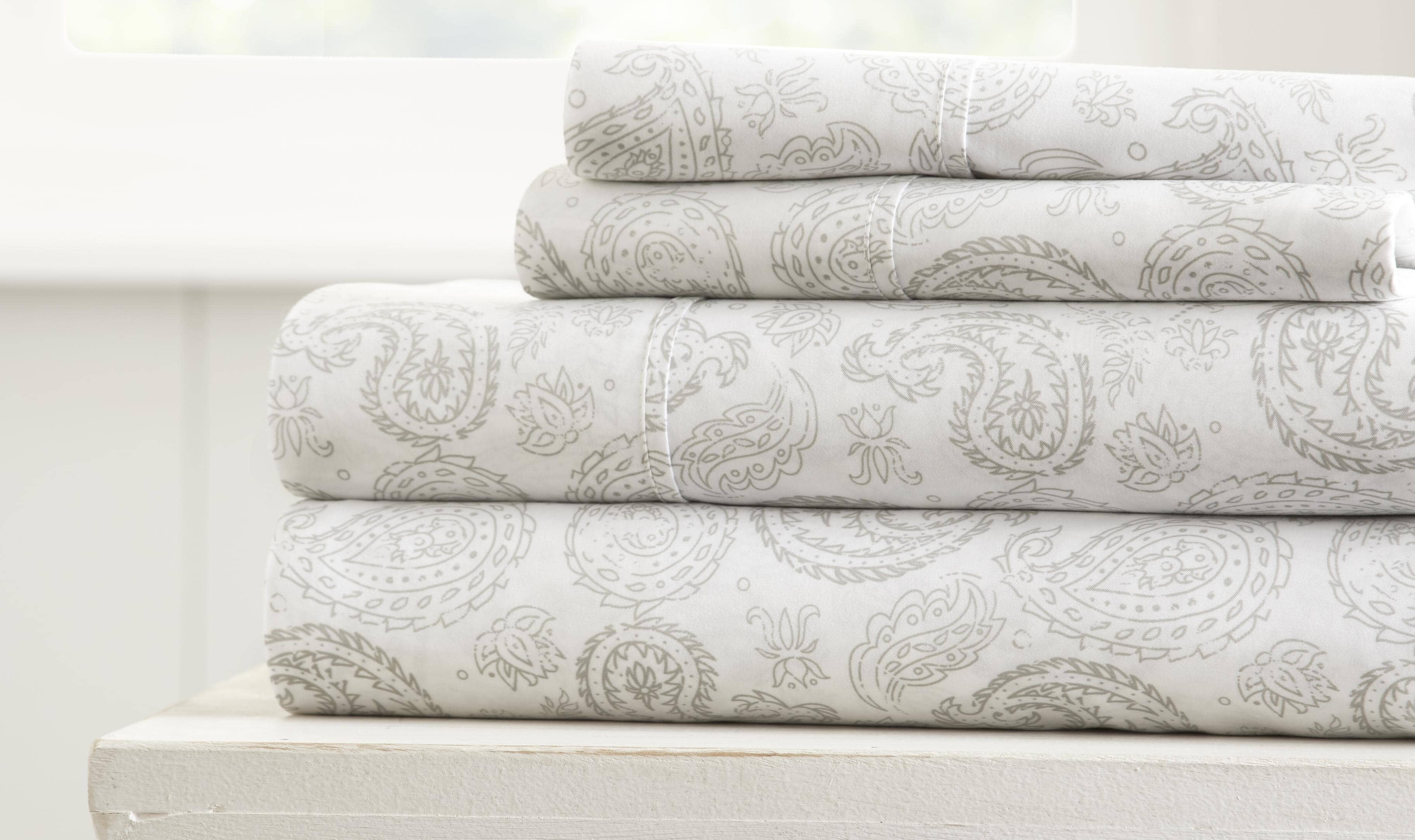 Coarse Paisley 4-Piece Patterned Sheet Set Starting at $20.25