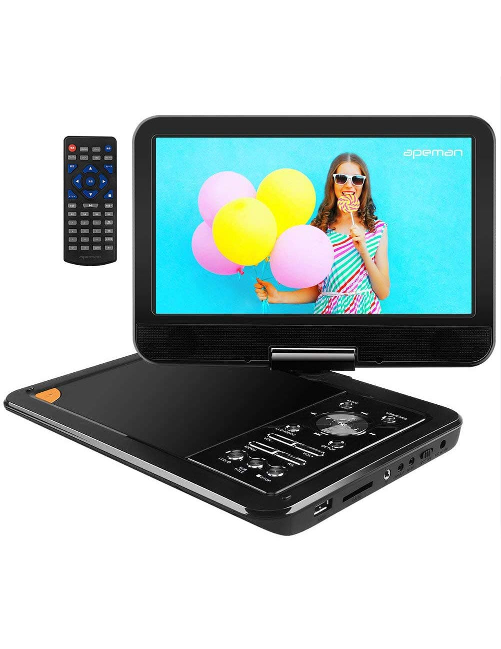 APEMAN 9.5'' Portable DVD Player with Swivel Screen, Remote Controller, and a Built-In Rechargeable Battery for $39.94 + FS