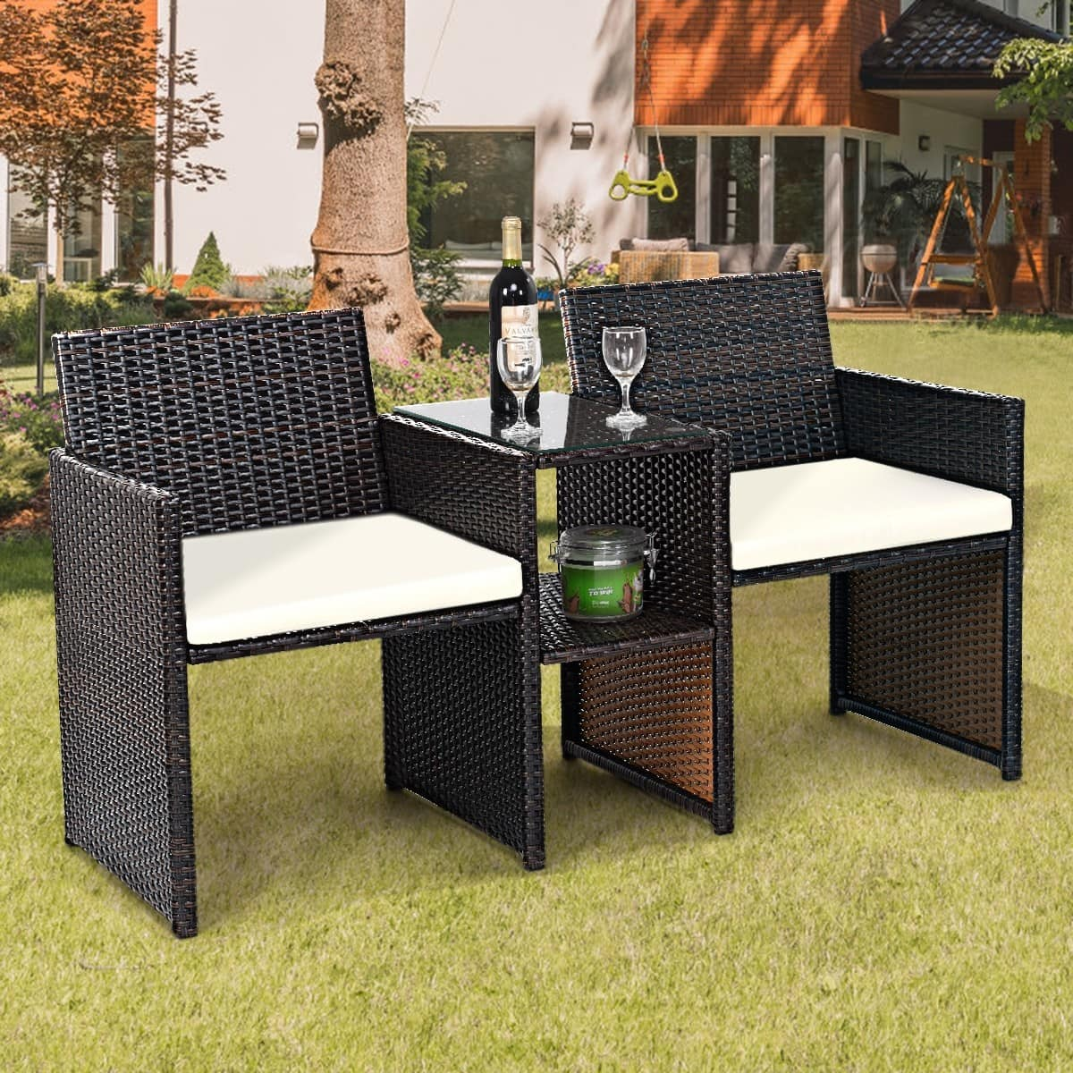 Costway Patio Rattan Conversation Cushioned Seat Sofa Set - $119.95 + Free Shipping