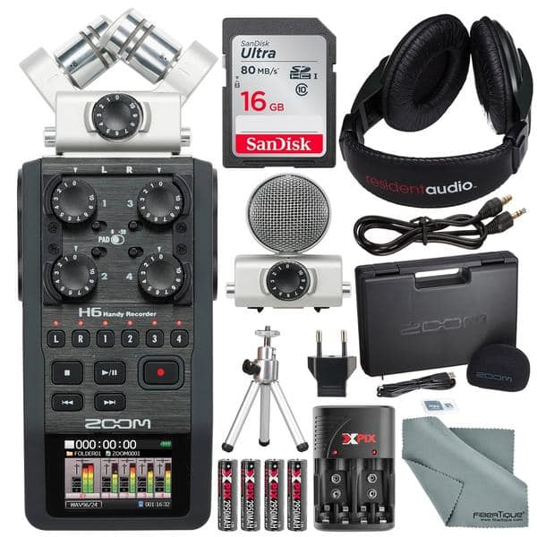 Zoom H6 Six-Track Portable Recorder with Interchangeable Microphone System with Deluxe Accessory Bundle $351.99 AC + FS
