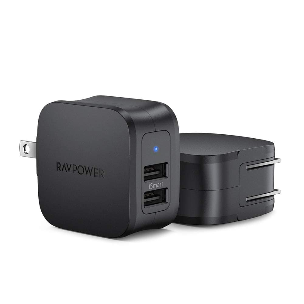 RAVPower 2-Pack Dual Port 17W USB Wall Charger $12.99