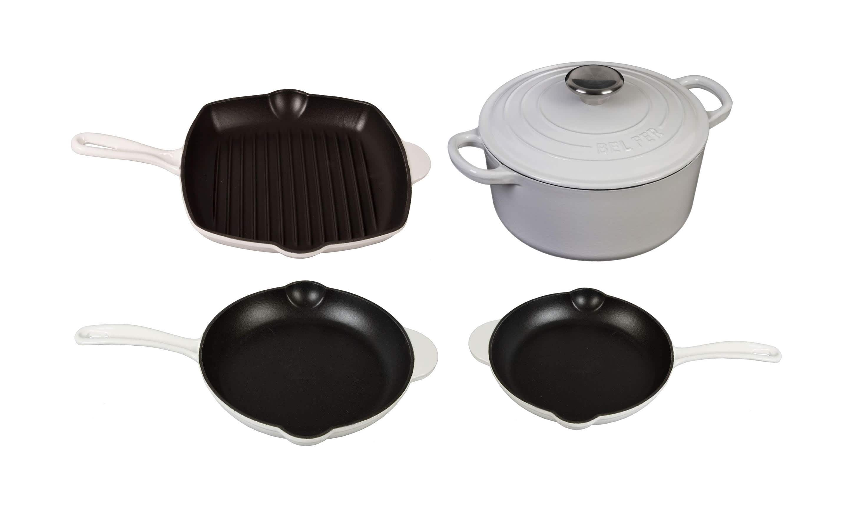 Inspired Home 5-Piece White Enameled Cast Iron Cookware Set : $87.99 AC + FS
