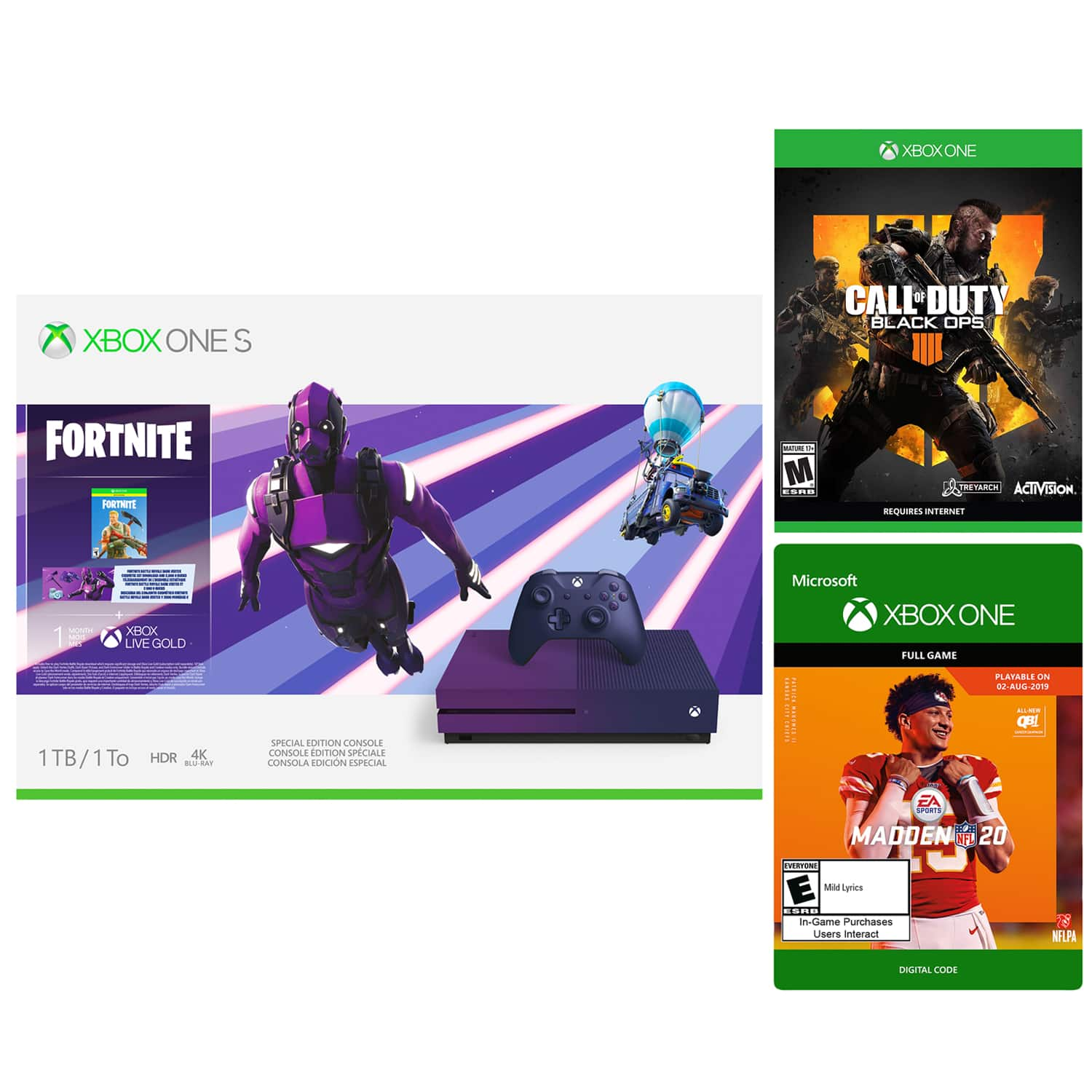 Xbox One S 1TB Fortnite Special Edition with Call of Duty: Black Ops 4 and Madden NFL 20 for $299.99