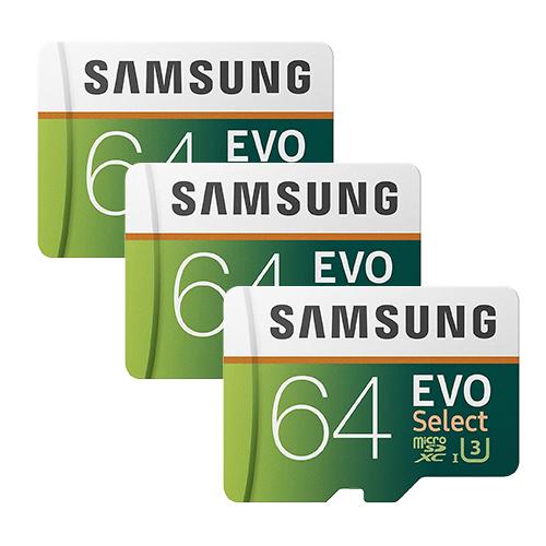 (3 Pack) 64GB Samsung EVO Select U3 MicroSD Memory Card w/ Adapter for $29.72 + FS