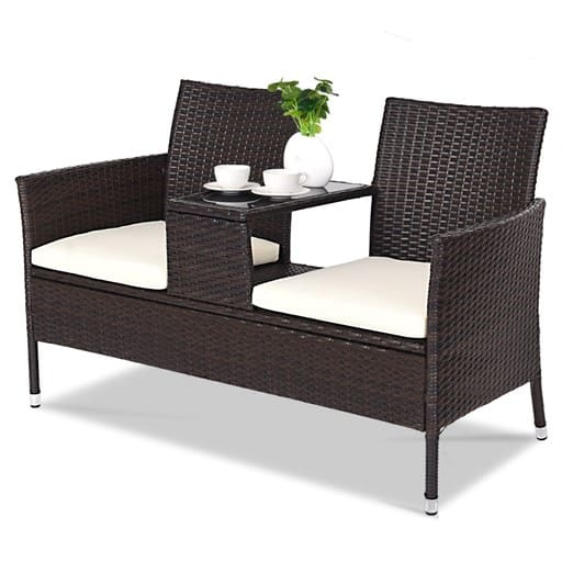 Costway Outdoor Patio Rattan Cushioned Chat Set $124.99