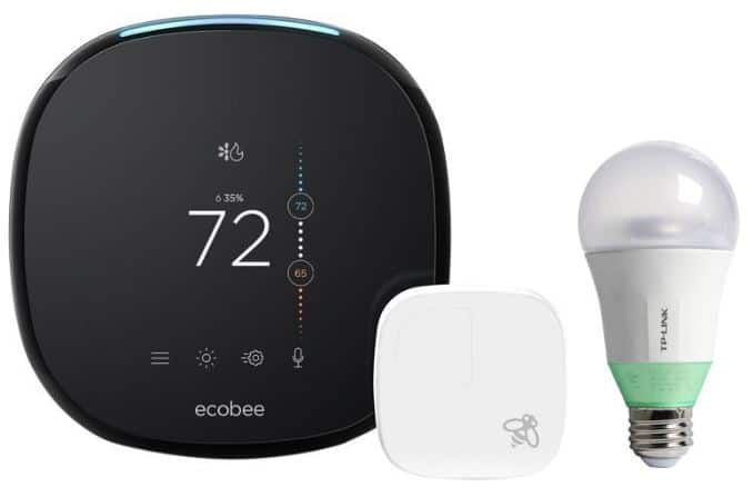 Ecobee4 Wi-Fi Smarth Thermostat with Room Sensor, Bulilt-In Alexa and Free TP-Link Kasa Smart Wi-Fi LED Bulb $188.99