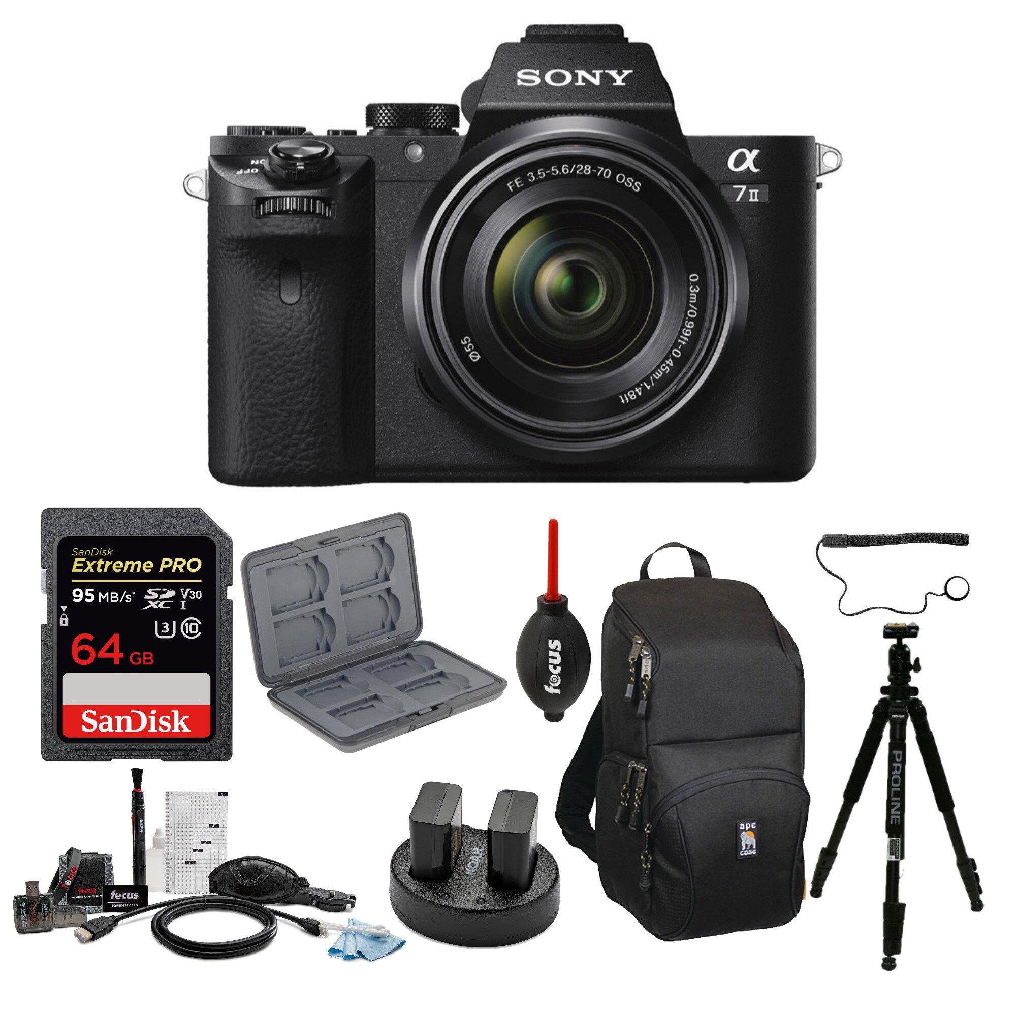 Sony Alpha A7ii Mirrorless Camera With 28-70mm Lens And 64gb Card Bundle (Black) : $939.99  AC + FS
