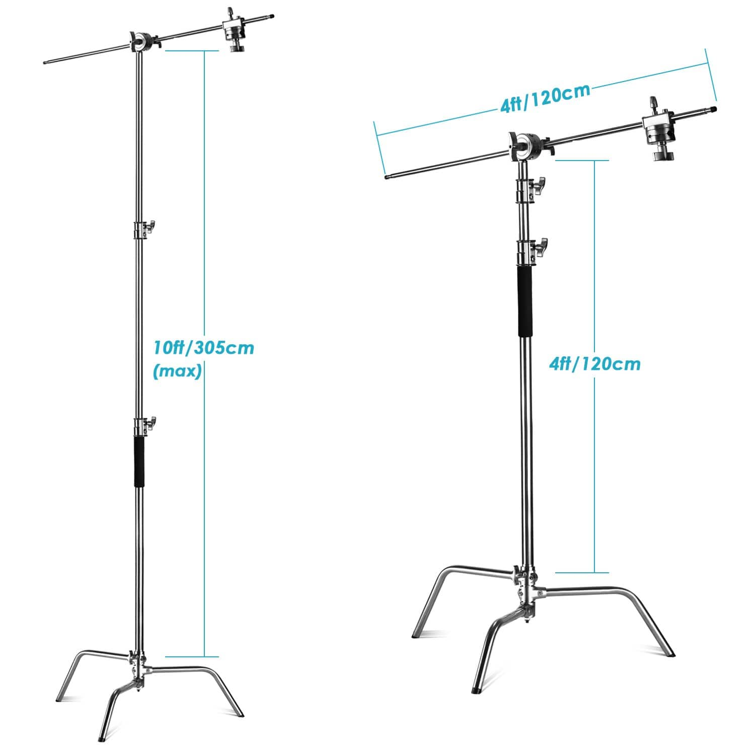 Neewer Pro 10ft/305cm Adjustable Metal C-Stand with 4ft/120cm Holding Arm - $76.99 + Free Shipping