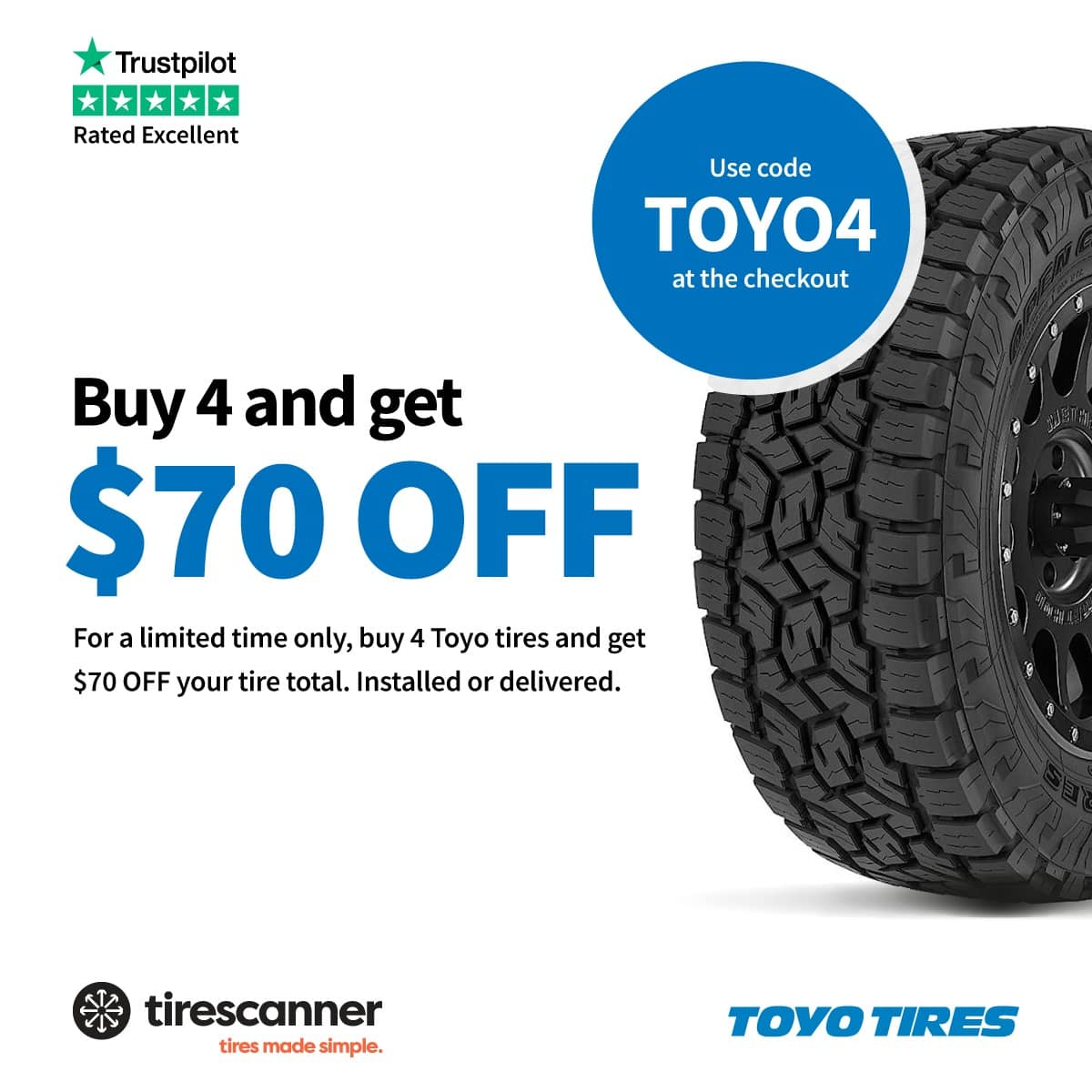 TireScanner: Instant $70 off any set of 4 TOYO tires, installed or delivered, valid until 30th of June