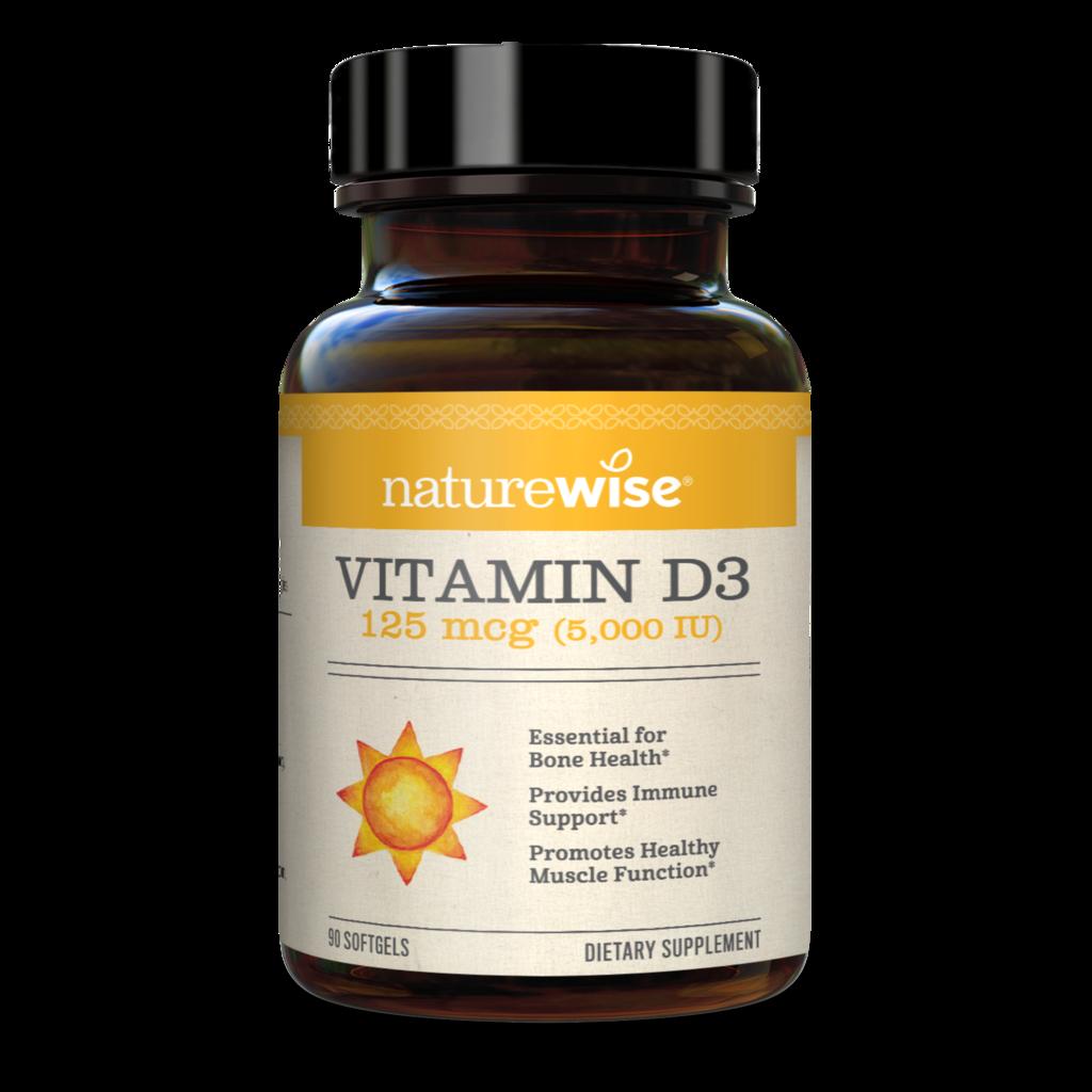 Naturewise 25% off SiteWide: Vitamin D3 5,000 IU - 125mcg 90 Softgels $8.25 + FS