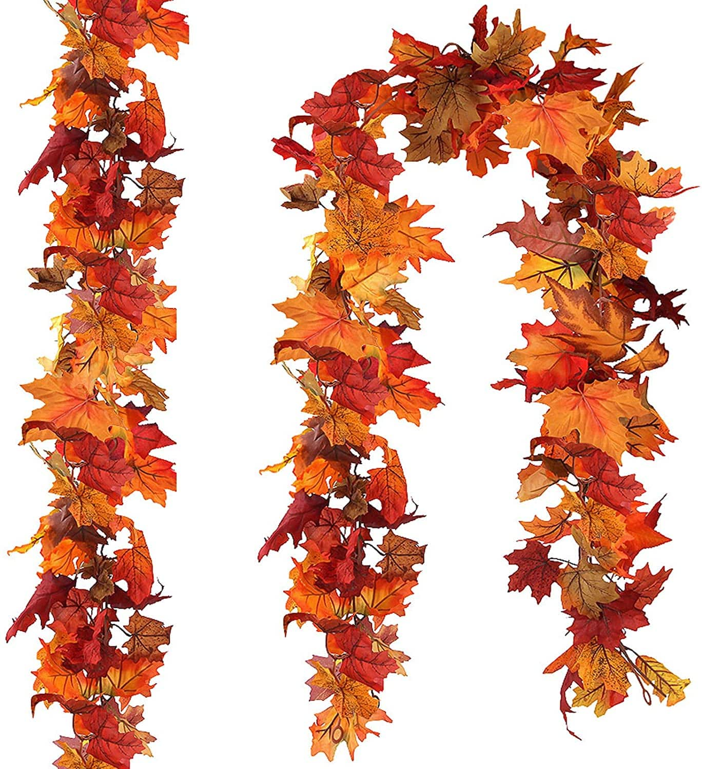 Fall Maple Leaves Garland  (2 Pack) Hanging Vines $9.09