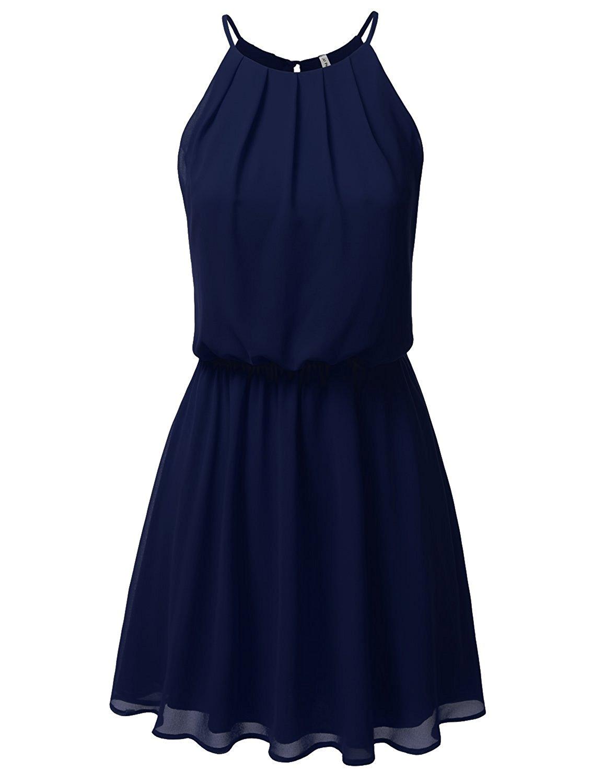 Women's Sleeveless Double-Layered Pleated Chiffon Mini Dress 80% off - $5.60 Free shipping with prime