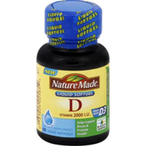 Nature Made Vitamin D Liquid Softgels 2000 IU, 90CT via S&S $4.41