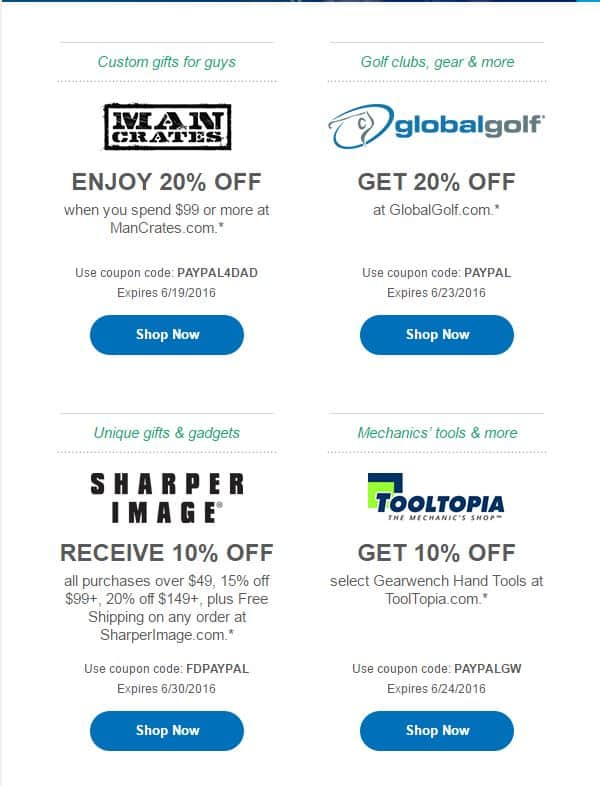 Up to 20% off various websites with PayPal codes for Father's Day