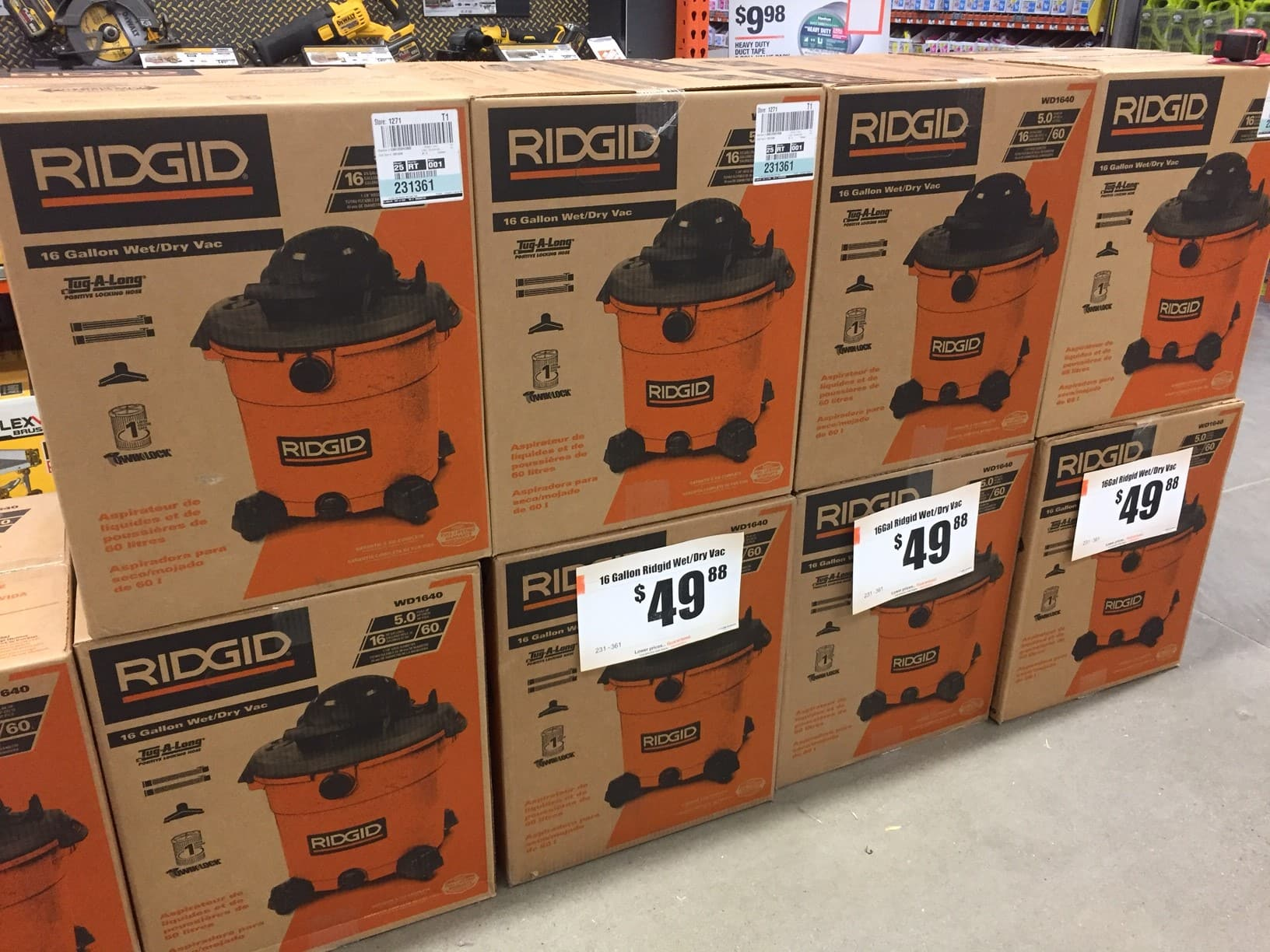 RIDGID 16 gal 5 0 Peak HP Wet Dry Vac $49 88 Home Depot B&M
