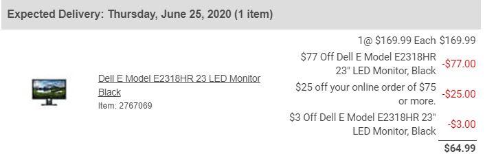 Dell E Model E2318HR 23'' 16:9 Full HD Monitor for $64.99