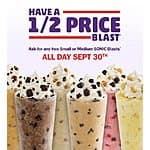 Half-priced SONIC Blasts at Sonic Drive-In Today only! Limit 2