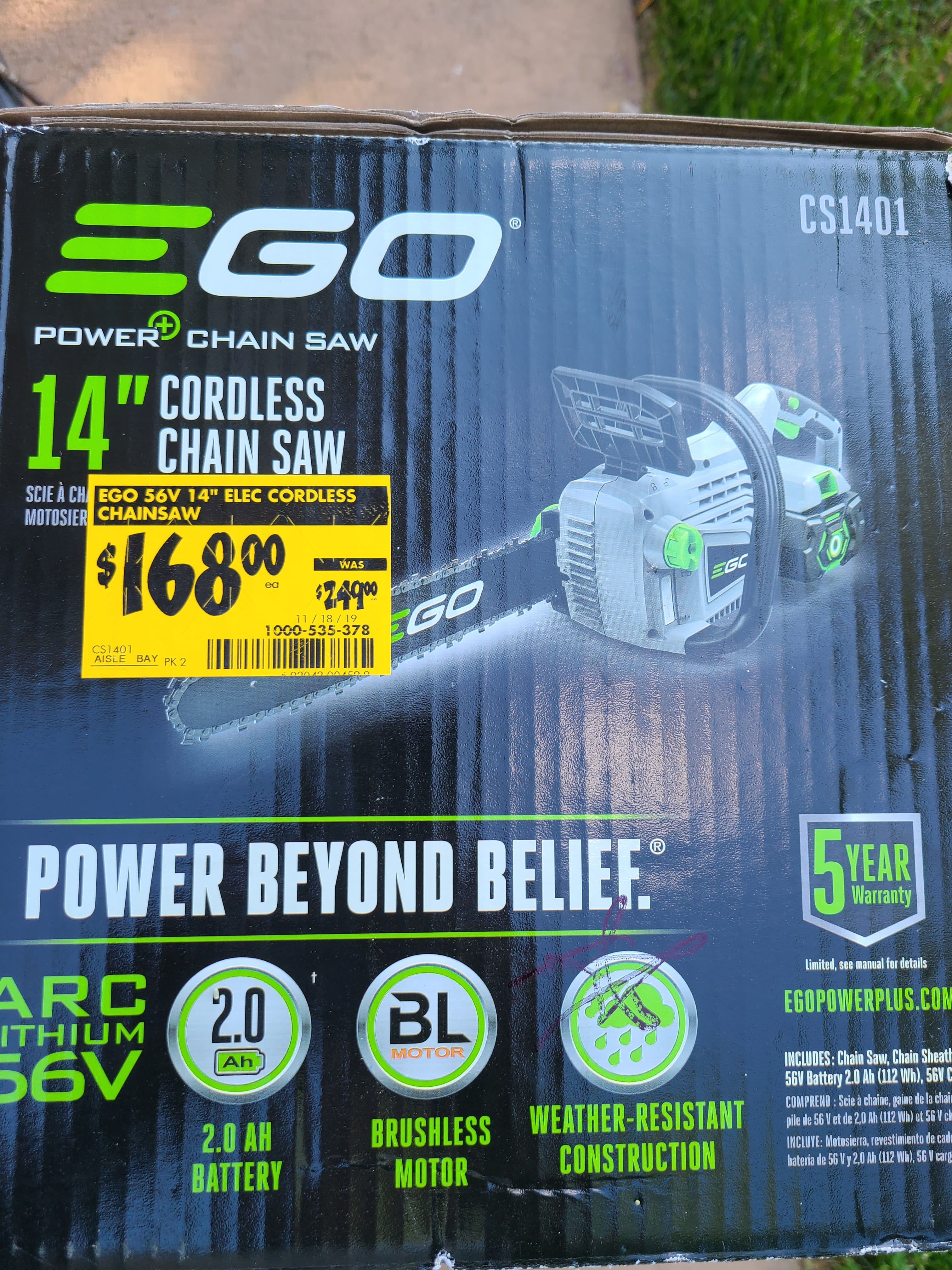 YMMV 14 in. 56V Lithium-Ion Cordless Electric Chainsaw, 2.0 Ah Battery and Charger Included. $168 (In store)