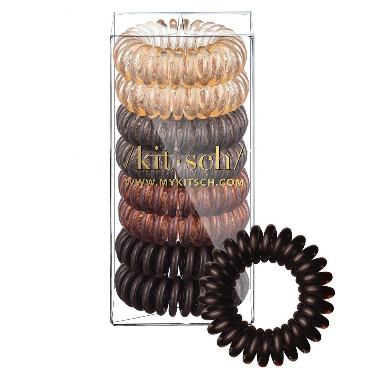 Kitsch Spiral Hair Ties, Coil Hair Ties, Phone Cord Hair Ties, Hair Coils - 8 Pcs, Brunette $6.79